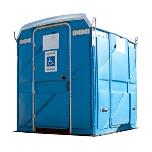 Portable restrooms with dedicated modifications for disabled use.